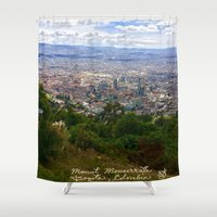 colombia Shower Curtains featuring Mount Monserrate, with a 10,000 ft view of Bogota Colombia by ANoelleJay