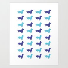 Sausage Dog Pattern Art Print