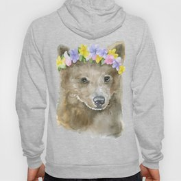 Brown Bear Floral Watercolor Hoody