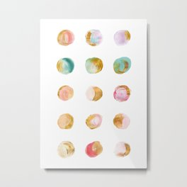 Painted Dots & Gold Metal Print