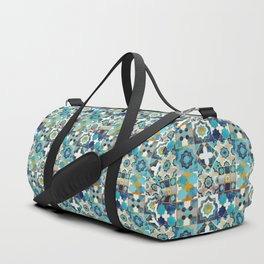 Spanish moroccan tiles inspiration // turquoise blue golden lines Duffle Bag
