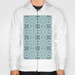 Teal Elegance Flower Cross Pattern Hoody