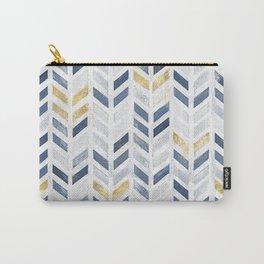 Herringbone chevron pattern. Indigo gold acrylic on canvas Carry-All Pouch