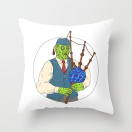 Zombie Piper Playing Bagpipes Grime Art Throw Pillow