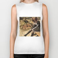 clockwork Biker Tanks featuring Clockwork lady by Catherine Mitchell
