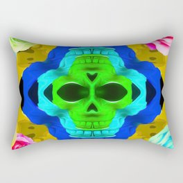 funny skull portrait with colorful roses in pink blue yellow green Rectangular Pillow