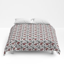 Paisley Pattern, Black, White, Gray and Red Comforters