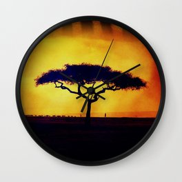 African Farmers Sunset Zebra Wall Clock