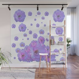 PALE BLUISH-PINK ROSE GARDEN ABSTRACT FLORAL Wall Mural