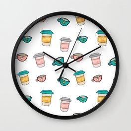 Happy coffee cups and mugs Wall Clock