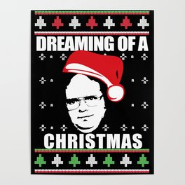 DREAMING OF A DWIGHT CHRISTMAS Ugly XMas  Sweater The Office Poster