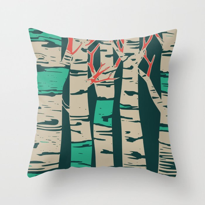 Whimsical birch forest landscape wall art Throw Pillow