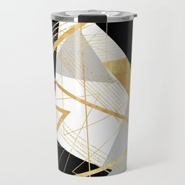 Black and Gold Geometric Travel Mug