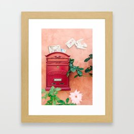 "Travel photography print ""Red mailbox in Tuscany "" photo art made in Italy. Colorful photo pastel Framed Art Print"