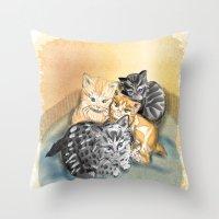 kittens Throw Pillows featuring Kittens by Michelle Behar