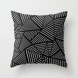 Ab Linear Zoom Black Throw Pillow