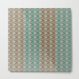 Mid Century Modern Retro Geometric Shapes Stripes Jade Green Tobacco Brown and Gray Metal Print