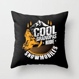 Cool Grandpas Ride Snowmobiles Throw Pillow
