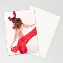 1568s-MM Bare Woman in Mask and Red Cloth Square High Key Art Nude Stationery Cards