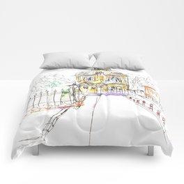 urban sketch in watercolor Comforters