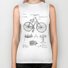 Bicycle Patent - Cyclling Art - Black And White Biker Tank