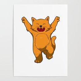 Jubilation Cat Dance Emote Funny Gift Poster