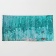 Weathered turquoise concrete wall texture Beach Towel