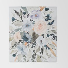 Loose Blue and Peach Floral Watercolor Bouquet  Throw Blanket