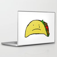 taco Laptop & iPad Skins featuring Sad Taco by Leah Flores
