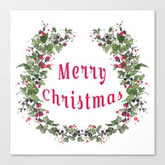 merry christmas flower wreath Canvas Print