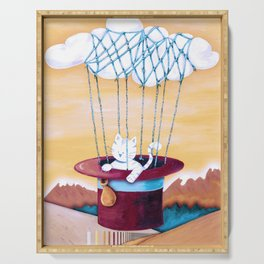 The cat traveling in dreams Serving Tray