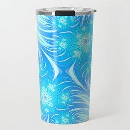 Abstract Christmas aqua blue white pattern. Frozen flowers Travel Mug