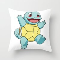 squirtle Throw Pillows featuring Squirtle by dada
