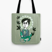writer Tote Bags featuring Rimbaud Holy Writer by roberto lanznaster