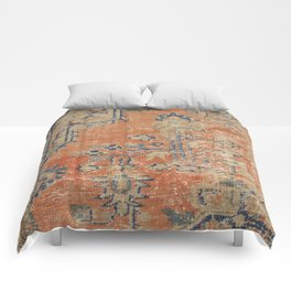 Vintage Woven Navy and Orange Comforters