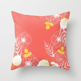 Coral Retro Floral Throw Pillow