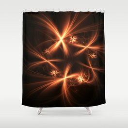 Orange abstract fractal as firework. Holiday theme. Shower Curtain