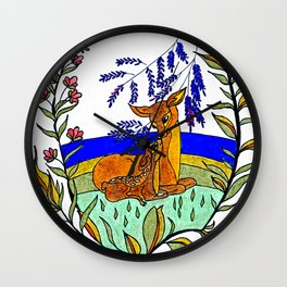 Doe And Fawn In Wildflowers Wall Clock