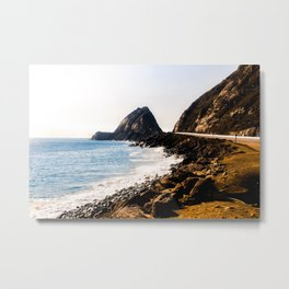 road with blue ocean view at Point Mugu State Park, California, USA Metal Print