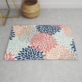 Floral Bloom Print, Living Coral, Pale Aqua Blue, Gray, Navy Rug