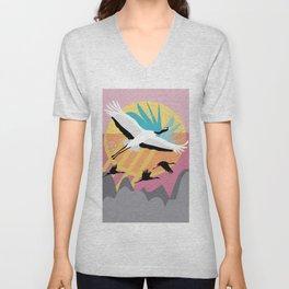 Majestic Crane {6} Unisex V-Neck