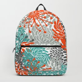 Orange and Teal Floral Abstract Print Backpack
