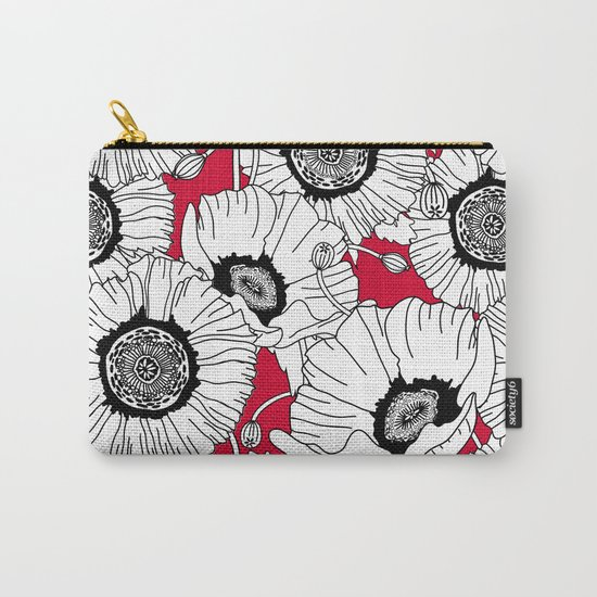 Black and White Poppies in a Red Vase Carry-All Pouch