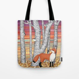 nuthatches and fox in the birch forest Tote Bag