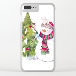 Happy new Year and marry Christmas. snowman,bunny and bird. Clear iPhone Case