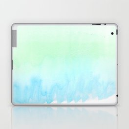 Hand painted turquoise teal blue watercolor ombre brushstrokes Laptop & iPad Skin
