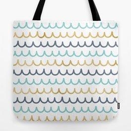 Golden Pastel Waves Tote Bag