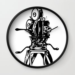 Vintage Motion Picture Film Camera Graphic Wall Clock