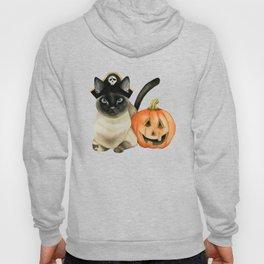 Halloween Siamese Cat with Jack O' Lantern Hoody