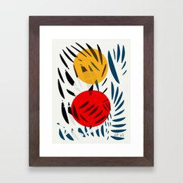 Yellow and Red Abstract Art Graphic Design Framed Art Print